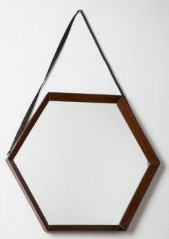 Compasso - Pair of Hexagonal Teak Mirrors